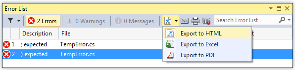 Error List Manager 2 Released with Visual Studio 2015 support