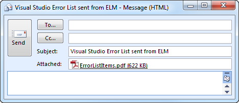 Emailing Visual Studio's Error List using ELM