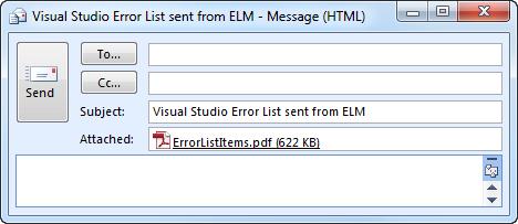 Emailing Visual Studio's Error List using ELM