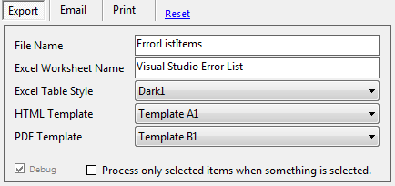 Export Visual Studio Error List HTML EXCEL PDF