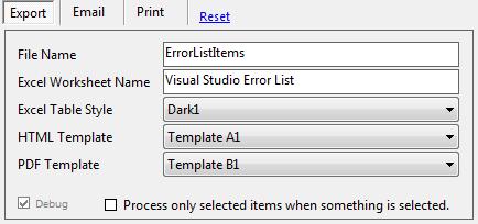 Export Visual Studio Error List HTML EXCEL PDF