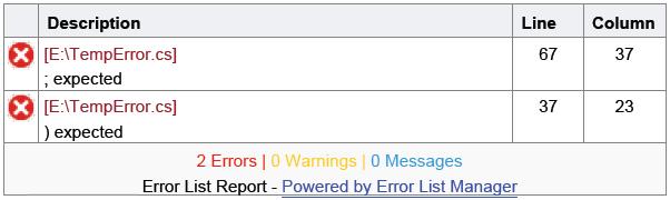 Export Visual Studio' Error List as PDF
