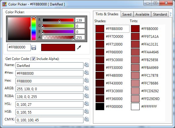 Integrated Color Picker for Visual Studio IDE