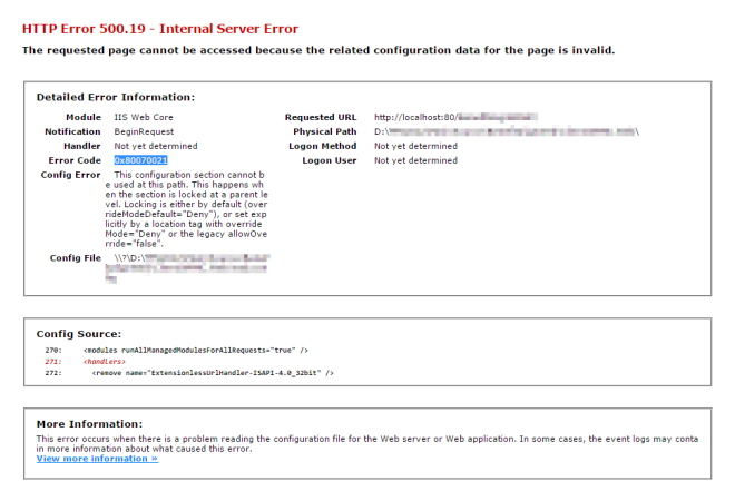 HTTP Error 500.19 - Internal Server Error 0x80070021